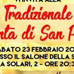 """""""Tradizionale Polenta di San Paolo"""" il prossimo Sabato 23 febbraio 2019"""